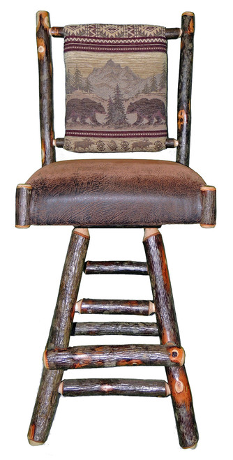 Rustic Hickory Swivel Bar Stool 30 Quot Bear Mountain Fabric