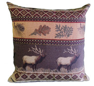 Premium Rustic Throw Pillow - Elk Run