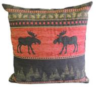 Premium Rustic Throw Pillow - Red Moose
