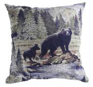 Premium Rustic Throw Pillow - Bear & Cub