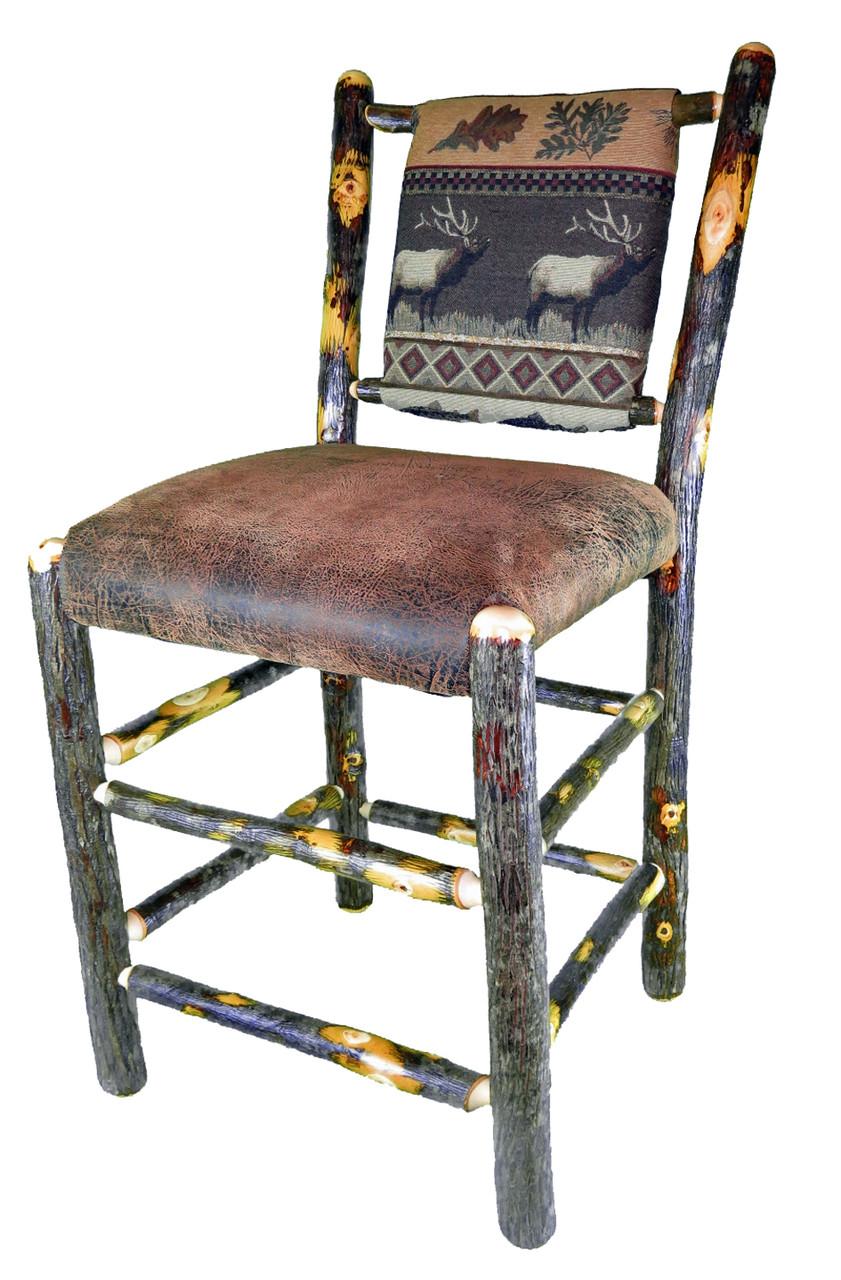 Rustic Hickory Bar Stool Elk Run Fabric