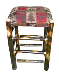 """Rustic Hickory Backless Bar Stools 30"""" - Red Cabin Fabric"""