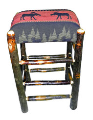 "Rustic Hickory Backless Bar Stools 30"" - Red Moose Fabric"