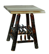 Live Edge Rustic Hickory End Table - Square