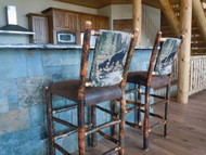 "Rustic Hickory Bar Stool 24"" - Bear & Cub Fabric - Customer Picture"