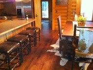 """Rustic Hickory Backless Bar Stools 24"""" - Faux Leather Fabric - Customer Picture"""