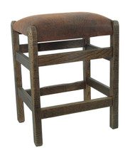 "Barnwood Bar Stools 24"" Backless - Faux Leather  Fabric"