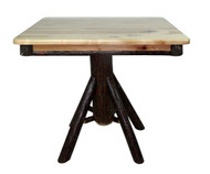 "Rustic Hickory 36"" Square 30"" Dining Table - Round Log Base"