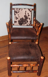 Rustic Hickory Side Chair & Ottoman in Distressed Leather- Faux Cow Hide Fabric