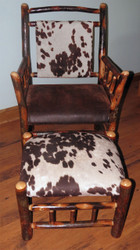 Rustic Hickory Side Chair with Ottoman- Faux Cow Hide Fabric