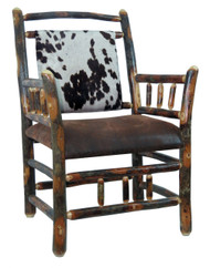 Rustic Hickory Side Chair - Faux Cow Hide Fabric