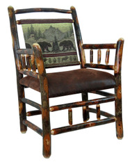 Rustic Hickory Side Chair - Bear Mountain Fabric