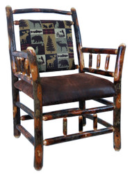 Rustic Hickory Side Chair - Brown Cabin Fabric