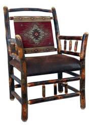 Rustic Hickory Side Chair - Red Diamond Fabric