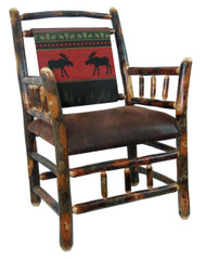 Rustic Hickory Side Chair - Red Moose Fabric