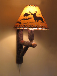Rustic Hickory Wall Sconce Lamp with Shade