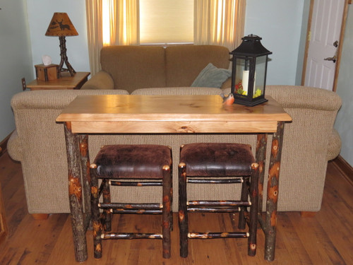 amish hickory sofa table breakfast bar with 2 upholstered hickory bar stools