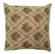 Premium Throw Pillow - Gold Pinecone