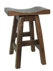 "Swivel Barnwood Bar Stools 24"" - Saddle Seat"