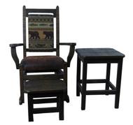 Amish Barnwood Rocker with Upholstered Seat & Back 3 Piece Set