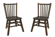 Set of 2 Barnwood Distressed Oak Dining Kitchen Chairs with Spindle Back