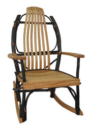 Amish Bentwood Rocker with Arms - Hickory & Oak