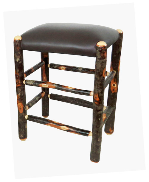 Genuine Leather Rustic Hickory Backless Bar Stools 24  - Dark Brown  sc 1 st  AmishVillage.net & Genuine Leather Rustic Hickory Backless Bar Stool 24