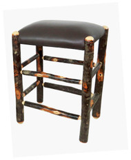 "Genuine Leather Rustic Hickory Backless Bar Stools 24"" - Dark Brown"