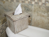White Distressed Barnwood Tissue Box Cover