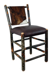 "Rustic Hickory Bar Stool 24"" - Hair on Hide Leather"