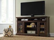 Roddinton Dark Brown XL TV Stand w/Fireplace Option