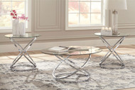 Hollynyx Chrome Finish Occasional Table Set (3/CN)