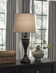 Darlita Bronze Finish Metal Table Lamp (2/CN)