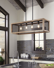Jodene Brown/Black Wood Pendant Light (1/CN)