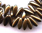 3x11mm Dagger (aka Spearhead) Glass Drop Bead, Czech Glass, bronze, (100 beads)