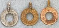 East Indian Metal Charm/Drop, Coin with hole, medium, 20mm, w/hole, copper, (6 pieces)