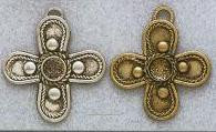 East Indian Metal Charm/Drop, Cross, 34mm, raw brass, (4 pieces)