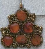 East Indian Metal Charm/Drop, w/Carnelian, 50mm, silver plated, (1 piece)