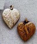 East Indian Metal Charm/Drop, Fancy Puff Heart Drop, 25mm, raw brass, (10 pieces)