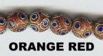 Enamel Bead, 10mm, Orange Red, Oriental Metal Bead, (8 beads)