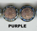Enamel Bead Flat, 20mm, Purple, Oriental Metal Bead, (4 beads)
