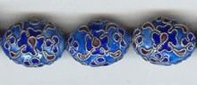 Enamel Bead Flat, 14x20mm, Oriental Metal Bead, (4 beads)