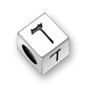 5.5mm (4mm hole) Sterling Silver Hebrew Letter Cube, DALET, (1 bead)