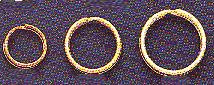 "Gold-Plate, Split Ring, Size 1L, 1/2"", (5/8"" outer diameter, 1/2"" inner diameter), (36 pc)"