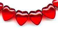 14x15mm Glass Heart Bead, horizontal hole, ruby, (25 beads)