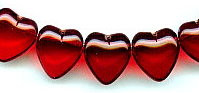 14x15mm Glass Heart Bead, horizontal hole, light garnet, (25 beads)