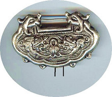 "Oriental Metal Pendant, Silver Plated on Copper ""Lock"", double sided, 75x50mm, (1 piece)"