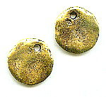 Cornflake Castings, Dangle, Round, 18mm, Antique Gold (over base metal), (2 pieces)