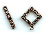 Toggle Clasp, Pewter, copper antique plate, Fancy Square, Medium, 15mm, (1 clasp set)