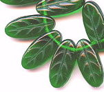 8x18mm Chubby Leaf Bead (horizontal drilled), Czech Glass, bottle green, (25 beads)